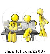 Clipart Illustration Of Yellow Men At A Bench At A Bus Stop