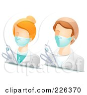 Royalty Free RF Clipart Illustration Of A Digital Collage Of Male And Female Dentist Avatars by BNP Design Studio
