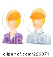 Royalty Free RF Clipart Illustration Of A Digital Collage Of Male And Female Engineer Avatars by BNP Design Studio