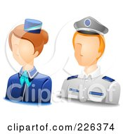 Royalty Free RF Clipart Illustration Of A Digital Collage Of Male And Female Steward Avatars by BNP Design Studio