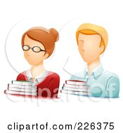 Digital Collage Of Male And Female Librarian Avatars