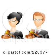 Royalty Free RF Clipart Illustration Of A Digital Collage Of Male And Female Judge Avatars by BNP Design Studio