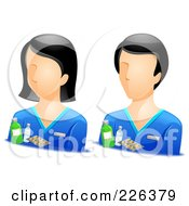 Digital Collage Of Male And Female Pharmacist Avatars