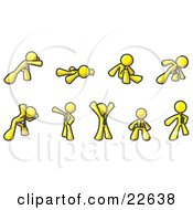 Clipart Illustration Of A Yellow Man Doing Different Exercises And Stretches In A Fitness Gym