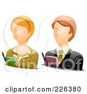 Royalty Free RF Clipart Illustration Of A Digital Collage Of Male And Female Secretary Avatars by BNP Design Studio