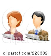 Royalty Free RF Clipart Illustration Of A Digital Collage Of Male And Female Accountant Avatars by BNP Design Studio