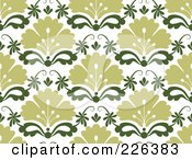 Royalty Free RF Clipart Illustration Of A Green Seamless Damask Background Pattern