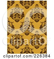 Royalty Free RF Clipart Illustration Of A Yellow Seamless Damask Background Pattern 1