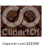 Royalty Free RF Clipart Illustration Of A Brown Damask Pattern
