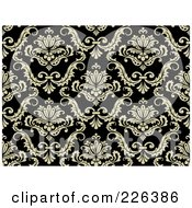 Royalty Free RF Clipart Illustration Of A Black And Beige Damask Background Pattern 3