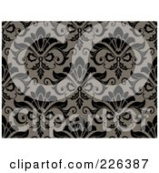 Royalty Free RF Clipart Illustration Of A Black And Toupe Seamless Damask Background Pattern
