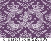 Royalty Free RF Clipart Illustration Of A Purple Seamless Damask Background Pattern 1