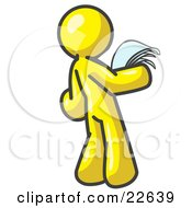 Clipart Illustration Of A Serious Yellow Man Reading Papers And Documents by Leo Blanchette