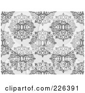 Royalty Free RF Clipart Illustration Of A Gray Seamless Damask Background Pattern