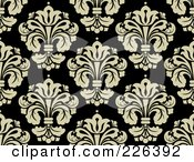 Royalty Free RF Clipart Illustration Of A Black And Beige Damask Background Pattern 1