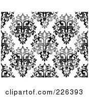 Royalty Free RF Clipart Illustration Of A Black And White Seamless Damask Background Pattern 1