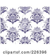 Royalty Free RF Clipart Illustration Of A Purple Seamless Damask Background Pattern 2