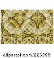 Royalty Free RF Clipart Illustration Of A Yellow Seamless Damask Background Pattern 2