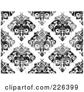 Royalty Free RF Clipart Illustration Of A Black And White Seamless Damask Background Pattern 2