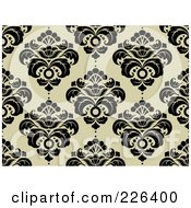 Royalty Free RF Clipart Illustration Of A Black And Beige Damask Background Pattern 2
