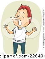 Royalty Free RF Clipart Illustration Of A Lying Man With A Growing Nose by BNP Design Studio