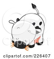 Royalty Free RF Clipart Illustration Of A Cute Cow Eating Hay by BNP Design Studio
