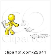 Yellow Man Dropping White Sheets Of Paper On A Ground And Leaving A Paper Trail Symbolizing Waste by Leo Blanchette