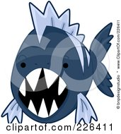 Royalty Free RF Clipart Illustration Of A Mean Blue Piranha Fish by BNP Design Studio