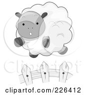 Royalty Free RF Clipart Illustration Of A Cute Sheep Leaping A Fence by BNP Design Studio