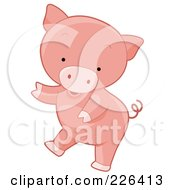 Royalty Free RF Clipart Illustration Of A Cute Pig Dancing by BNP Design Studio