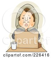 Royalty Free RF Clipart Illustration Of A Sad Lonely Begger Holding A Blank Sign
