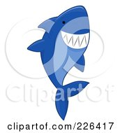 Royalty Free RF Clipart Illustration Of A Blue Shark Swimming Upwards by BNP Design Studio