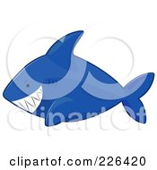 Royalty Free RF Clipart Illustration Of A Grinning Blue Shark by BNP Design Studio