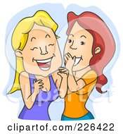 Royalty Free RF Clipart Illustration Of Two Women Giggling And Whispering by BNP Design Studio