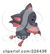 Royalty Free RF Clipart Illustration Of A Cute Gray Bat Flying Away by BNP Design Studio