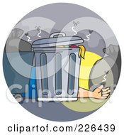 Royalty Free RF Clipart Illustration Of A Man Laying Behind A Trash Can