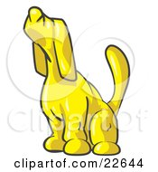 Clipart Illustration Of A Yellow Tick Hound Dog Howling Or Sniffing The Air by Leo Blanchette