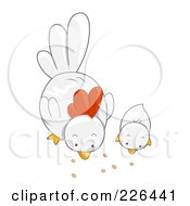 Royalty Free RF Clipart Illustration Of A White Hen And Chick Eating by BNP Design Studio