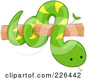 Royalty Free RF Clipart Illustration Of A Cute Snake On A Tree Branch by BNP Design Studio