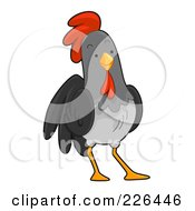 Royalty Free RF Clipart Illustration Of A Gray Rooster by BNP Design Studio