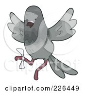 Royalty Free RF Clipart Illustration Of A Pigeon With An Injured Foot