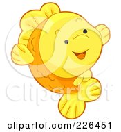 Royalty Free RF Clipart Illustration Of A Cute Goldfish Smiling