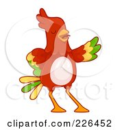 Royalty Free RF Clipart Illustration Of A Red Parrot Presenting