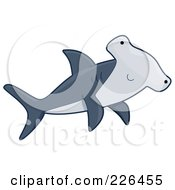 Royalty Free RF Clipart Illustration Of A Cute Hammerhead Shark by BNP Design Studio