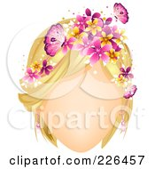 Faceless Woman With Butterflies And Flowers In Her Blond Hair