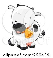 Royalty Free RF Clipart Illustration Of A Cute Cow With A Bell