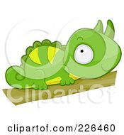 Royalty Free RF Clipart Illustration Of A Cute Horned Chameleon