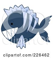 Royalty Free RF Clipart Illustration Of A Blue Piranha Fish