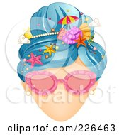 Royalty Free RF Clipart Illustration Of A Faceless Woman With Shades And Beach Summer Time Hair by BNP Design Studio