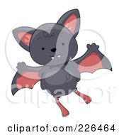 Royalty Free RF Clipart Illustration Of A Cute Gray Bat Flying